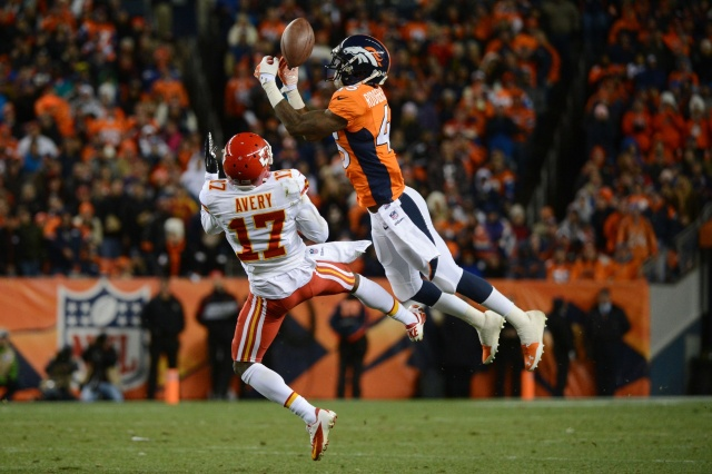 Denver Broncos cornerback Dominique Rodgers-Cromartie breaks up a pass intended for Kansas City Chiefs wide receiver Donnie Avery  at Sports Authority Field at Mile High. (Kyle Terada - USA TODAY Sports)