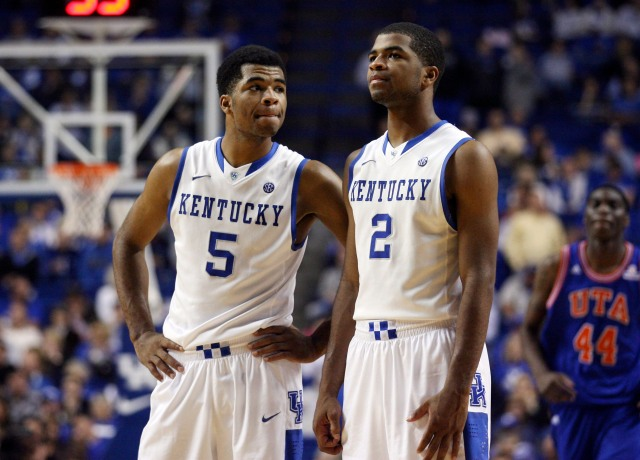 Twins Andrew (left) and Aaron Harrison (Mark Zerof-USA TODAY Sports)