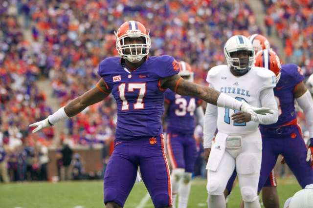 Clemson Tigers defensive back Bashaud Breeland celebrates after making a hit against the Citadel Bulldogs at Clemson Memorial Stadium. (Joshua S. Kelly - USA TODAY Sports)