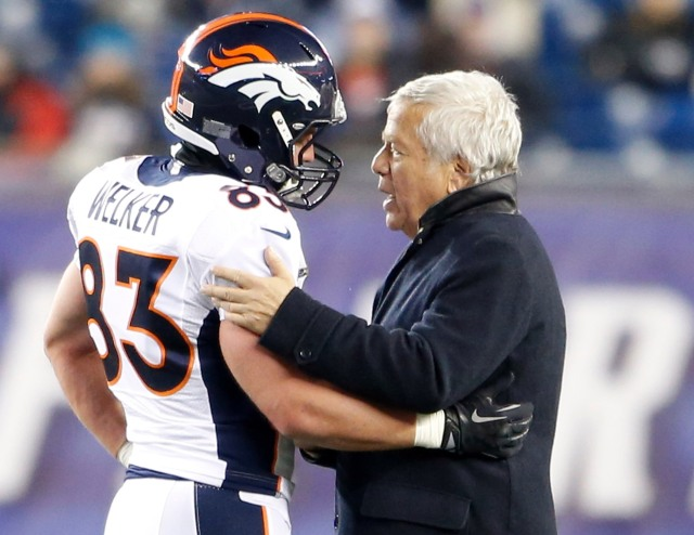 Wes Welker and New England Patriots owner Robert Kraft (David Butler II-USA TODAY Sports)
