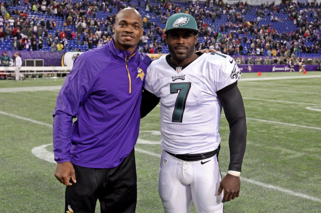 Adrian Peterson (left) and Michael Vick (Brace Hemmelgarn-USA TODAY Sports)
