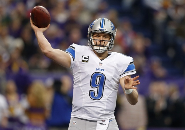 Detroit Lions quarterback Matthew Stafford passes against the Minnesota Vikings at Mall of America Field at H.H.H. Metrodome. (Bruce Kluckhohn-USA TODAY Sports)