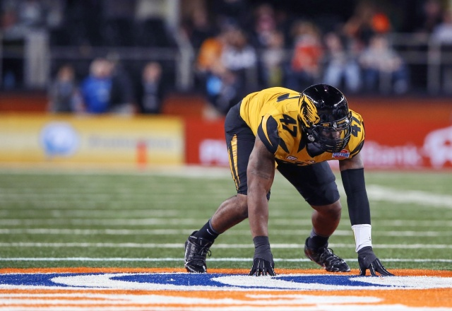 Missouri Tigers defensive lineman Kony Ealy lines up during the game against the Oklahoma State Cowboys in the 2014 Cotton Bowl at AT&T Stadium. (Kevin Jairaj-USA TODAY Sports)