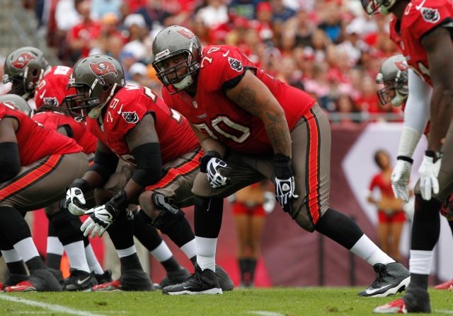 Tampa Bay Buccaneers tackle Donald Penn at the line of scrimmage against the San Francisco 49ers at Raymond James Stadium. (Kim Klement - USA TODAY Sports)