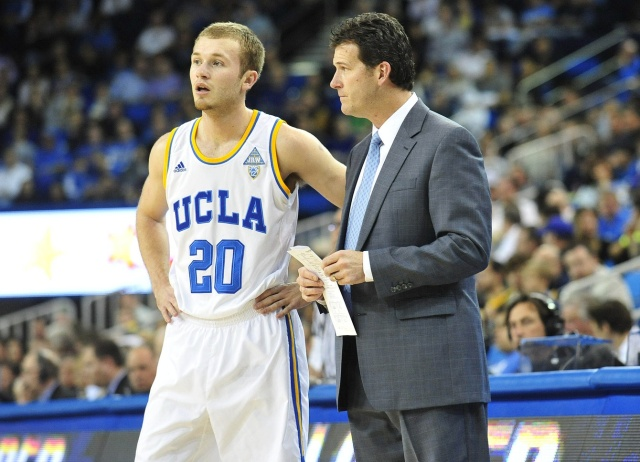 UCLA Bruins head coach Steve Alford speaks with guard Bryce Alford during a stoppage in play against the California Golden Bears at Pauley Pavilion. (Gary A. Vasquez - USA TODAY Sports)