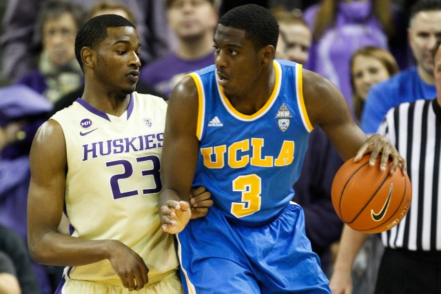 UCLA sophomore Jordan Adams uses his strength to overpower smaller guards.  Joe Nicholson-USA TODAY Sports.