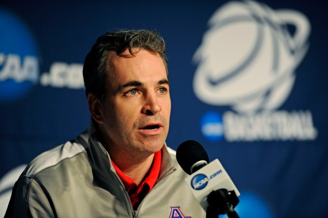 American University head coach Mike Brennan during a press conference before the second round of the 2014 NCAA Tournament at BMO Harris Bradley Center. Benny Sieu-USA TODAY Sports.
