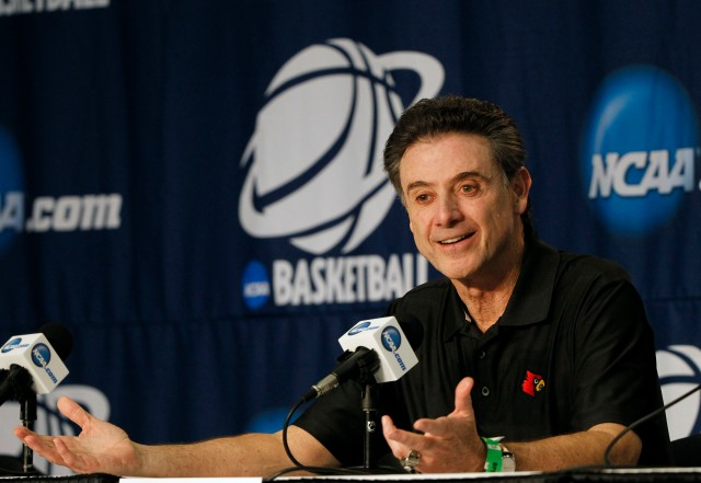 Louisville Cardinals head coach Rick Pitino addresses the media prior to practice before the second round of the 2014 NCAA Tournament at Amway Center. Kim Klement-USA TODAY Sports.