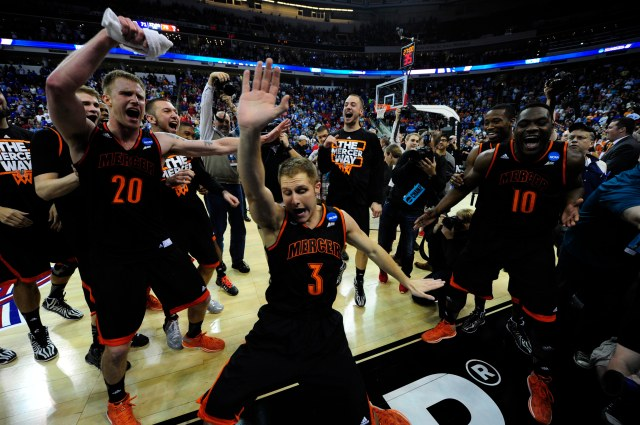 No. 14 seed Mercer celebrates after defeating Duke in the Round of 64. (Bob Donnan-USA TODAY Sports)