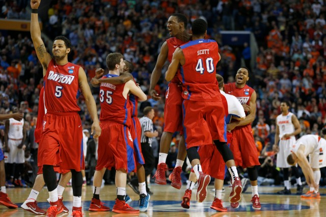 Dayton celebrates beating Syracuse and clinching its berth in the Sweet 16.  Kevin Hoffman-USA TODAY Sports