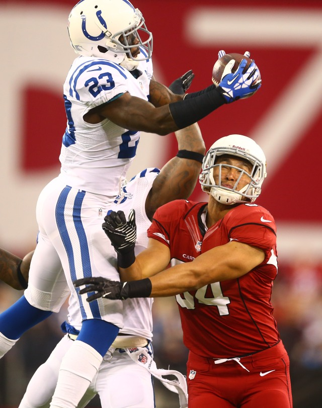 Colts' CB Vontae Davis nearly comes up with an interception. (Mark J. Rebilas, USA TODAY Sports.)