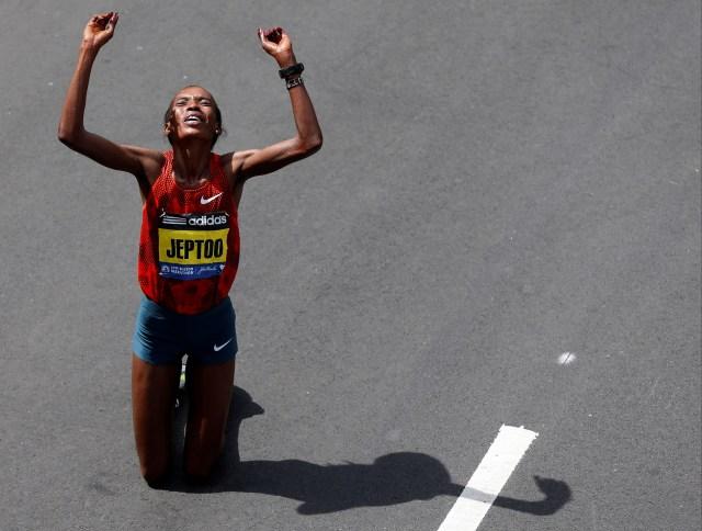 Rita Jeptoo of Kenya reacts to winning the Boston Marathon. (Greg M. Cooper, USA TODAY Sports)