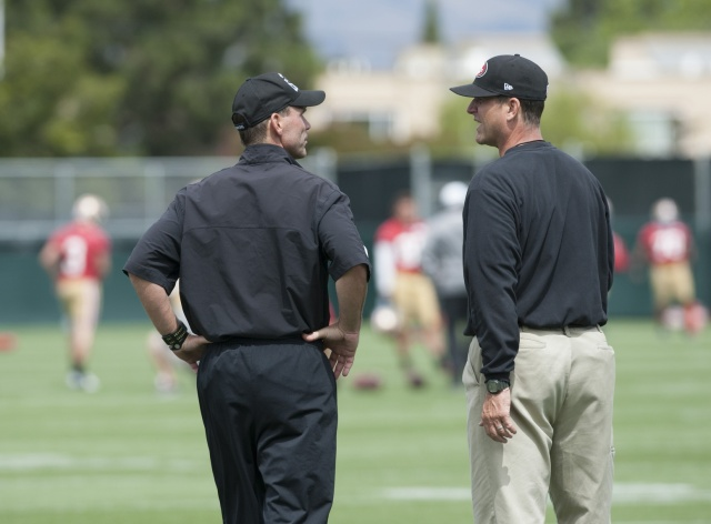 San Francisco 49ers general manager Trent Baalke (left) and head coach Jim Harbaugh chat during mincamp at San Francisco 49ers training facility. (Ed Szczepanski - USA TODAY Sports)