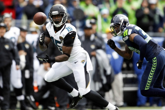 Jacksonville Jaguars wide receiver Stephen Burton makes a reception against the Seattle Seahawks at CenturyLink Field. (Joe Nicholson - USA TODAY Sports)