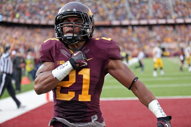 Minnesota Golden Gophers defensive back Brock Vereen celebrates after intercepting a pass against the Iowa Hawkeyes at TCF Bank Stadium. The Hawkeyes won 23-7. (Jesse Johnson - USA TODAY Sports)