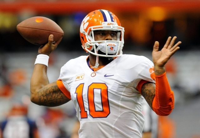 Clemson QB Tajh Boyd was once considered a Top 10 NFL draft pick, but his stock dropped dramatically over the past eight months. (Rich Barnes - USA TODAY Sports)
