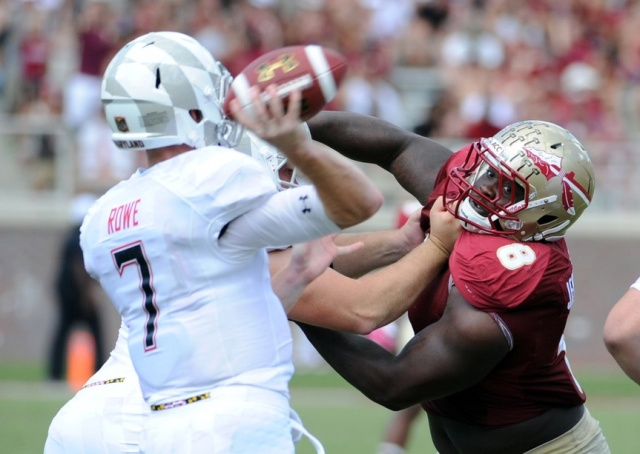 Florida State DT Timmy Jernigan is one of multiple top talents that slide out of the first round of this week's NFL mock draft. (Melina Vastola - USA TODAY Sports)