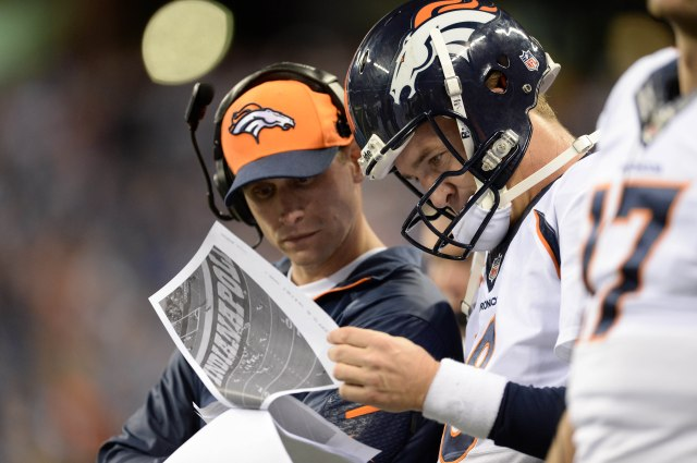 Adam Gase (left) and Peyton Manning (Ron Chenoy-USA TODAY Sports)