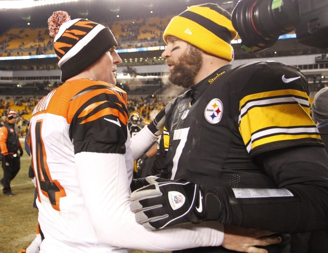Cincinnati Bengals quarterback Andy Dalton and Pittsburgh Steelers quarterback Ben Roethlisberger shake hands after their game at Heinz Field. The Steelers won 30-20. (Charles LeClaire - USA TODAY Sports)