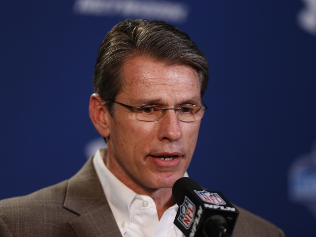 Minnesota Vikings general manager Rick Spielman speaks during a press conference during the 2014 NFL Combine at Lucas Oil Stadium. (Brian Spurlock - USA TODAY Sports)