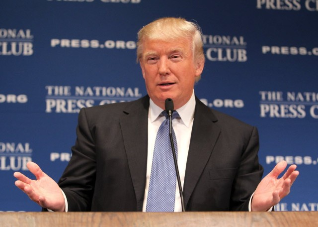"Donald Trump, chairman and president of the Trump Organization, discusses ""Building the Trump Brand"" at The National Press Club in Washington, DC. (Paul Morigi - Wire Image)"