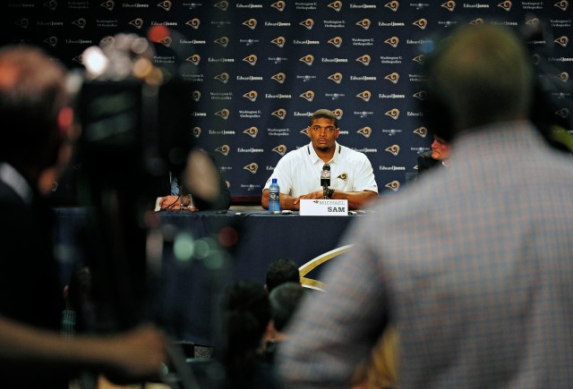 Michael Sam speaks at an introductory press conference in St. Louis. (Jeff Curry, USA TODAY Sports)