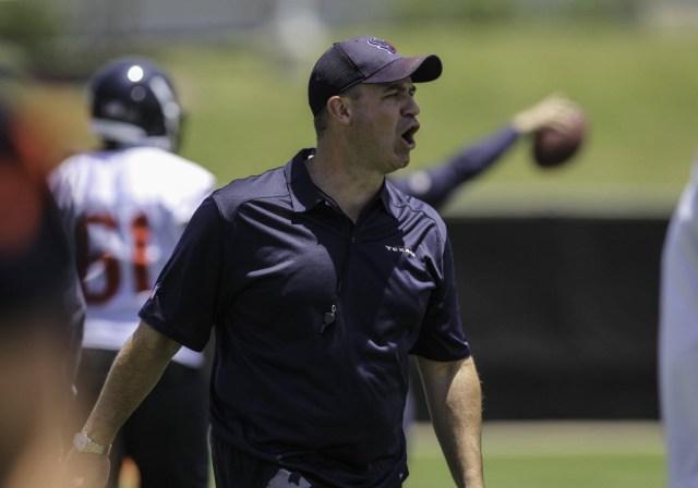 Houston Texans head coach Bill O'Brien shouts during rookie mini-camp at Methodist Training Center. (Troy Taormina - USA TODAY Sports)