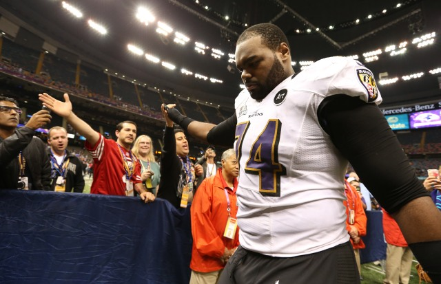 The Ravens need to find a replacement for Michael Oher. Matthew Emmons-USA TODAY Sports.