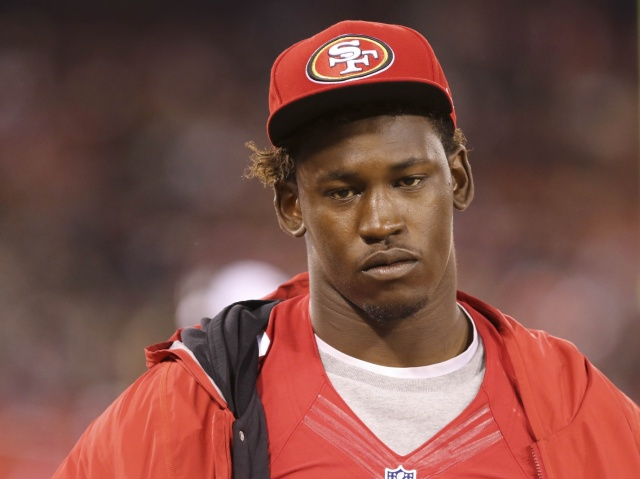 San Francisco 49ers linebacker Aldon Smith  on the sideline during a game against the Denver Broncos at Candlestick Park. (Kelley L Cox - USA TODAY Sports)