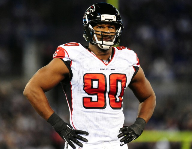Osi Umenyiora, 32, led the Falcons with just 7.5 sacks. Evan Habeeb-USA TODAY Sports.