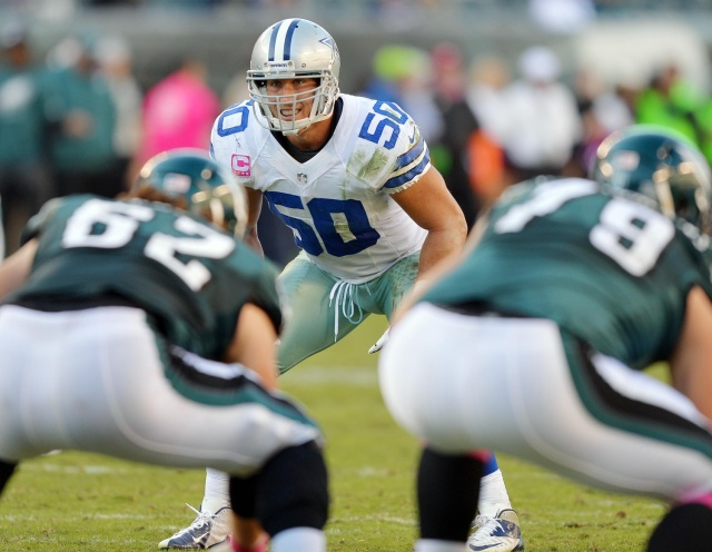 Dallas Cowboys middle linebacker Sean Lee  during a game against the Philadelphia Eagles at Lincoln Financial Field. (Jeffrey Pittenger - USA TODAY Sports)