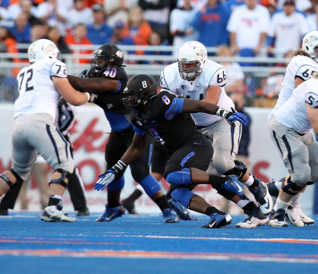 Boise State Broncos defensive end Demarcus Lawrence (8) during the game against the Nevada Wolf Pack at Bronco Stadium. Brian Losness-USA TODAY Sports