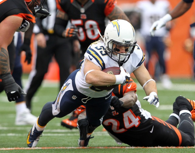 San Diego Chargers running back Danny Woodhead runs for a first down during a game against the Cincinnati Bengals during the AFC wild card playoff football game at Paul Brown Stadium. (Pat Lovell - USA TODAY Sports)
