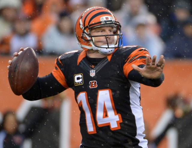 Cincinnati Bengals quarterback Andy Dalton throws a pass during the 2013 AFC wild card playoff football game against the San Diego Chargers at Paul Brown Stadium. (Kirby Lee - USA TODAY Sports)