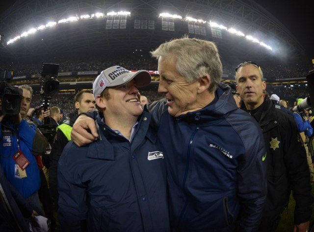 Seattle Seahawks coach Pete Carroll and general manager John Schneider embrace (Kirby Lee-USA TODAY Sports)