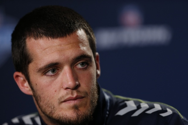 Fresno State quarterback Derek Carr speaks to the media in a press conference during the 2014 NFL Combine at Lucas Oil Stadium. (Brian Spurlock - USA TODAY Sports)
