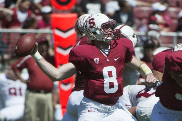 Stanford Cardinal quarterback Kevin Hogan passes the football during the spring game at Stanford Stadium. (Kyle Terada - USA TODAY Sports)