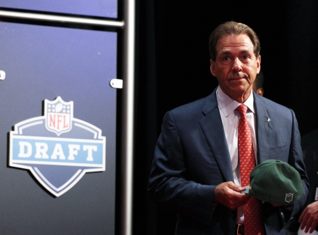Alabama Crimson Tide head coach Nick Saban next to the stage after Ha Ha Clinton-Dix (Alabama) is selected as the number twenty-one overall pick in the first round of the 2014 NFL Draft to the Green Bay Packers at Radio City Music Hall. (Adam Hunger - USA TODAY Sports)