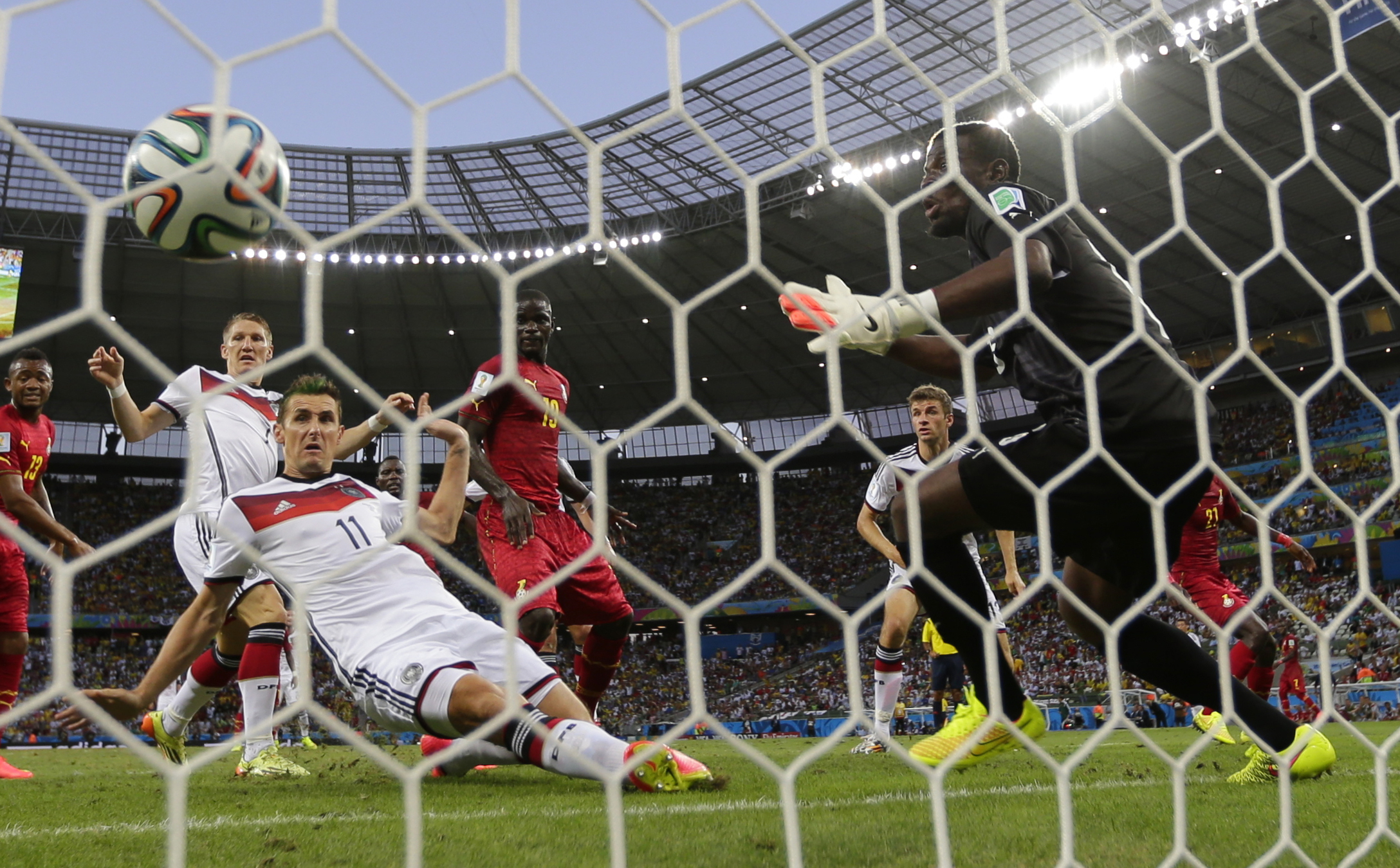 Germany scores the equalizer against Ghana (Frank Augstein-AP)
