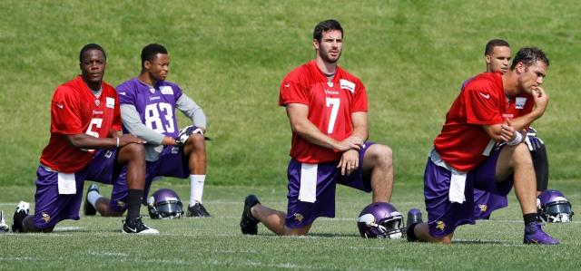 Teddy Bridgewater (left), Christian Ponder (center) and Matt Cassel  (AP Photo/Ann Heisenfelt)