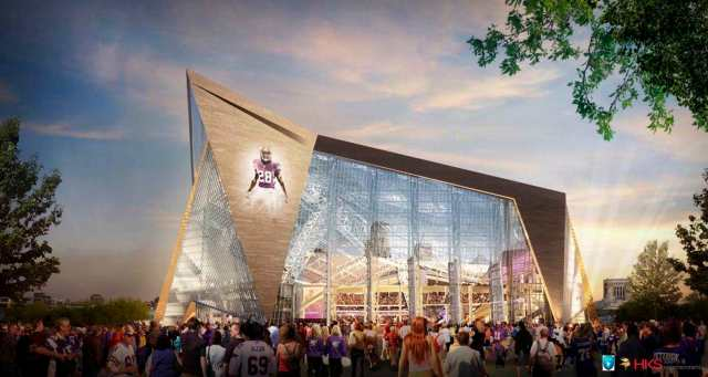 Peterson's image is projected on a rendering of the Vikings' new stadium. (AP photo)