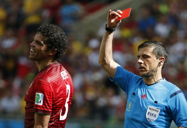 Portugal's Pepe is shown the red card. (Jorge Silva, REUTERS)