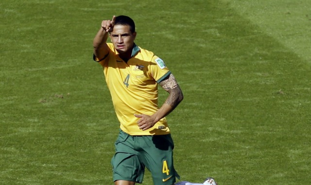 Australia's Tim Cahill celebrates his amazing goal. (Michael Sohn, AP Photo)