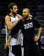 San Antonio Spurs guard Marco Belinelli (3) and guard Tony Parker (9) talk during practice before game one of the 2014 NBA Finals against the Miami Heat at the AT&T Center. (Bob Donnan, USA TODAY Sports)