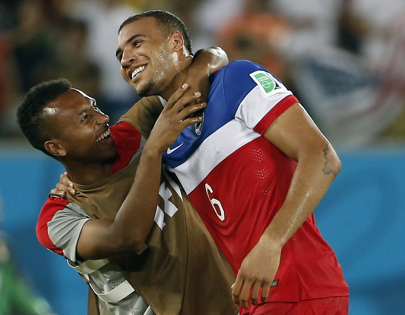 John Brooks, right, celebrates with Julian Green Winslow Townson-USA TODAY Sports)