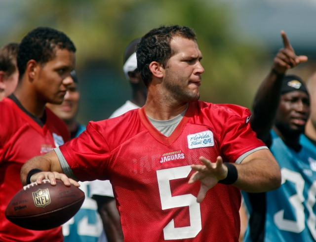 quarterback Blake Bortles (5) throws during the first day of minicamp at Florida Blue Health and Wellness Practice Fields. (Phil Sears-USA TODAY Sports)