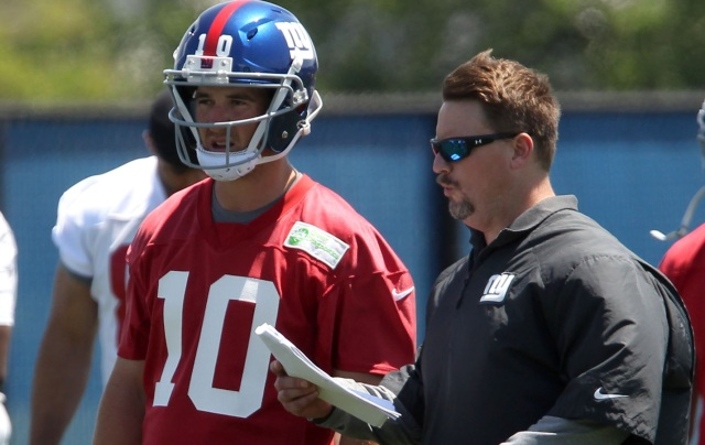 Eli Manning (left) and Ben McAdoo (Noah K. Murray-USA TODAY Sports)