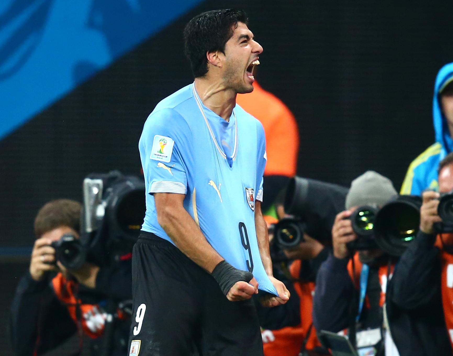 Luis Suarez celebrates his second goal Mark J. Reblias-USA TODAY Sports)