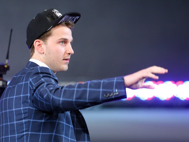 Nik Stauskas reacts to being drafted. (Brad Penner, USA TODAY Sports)