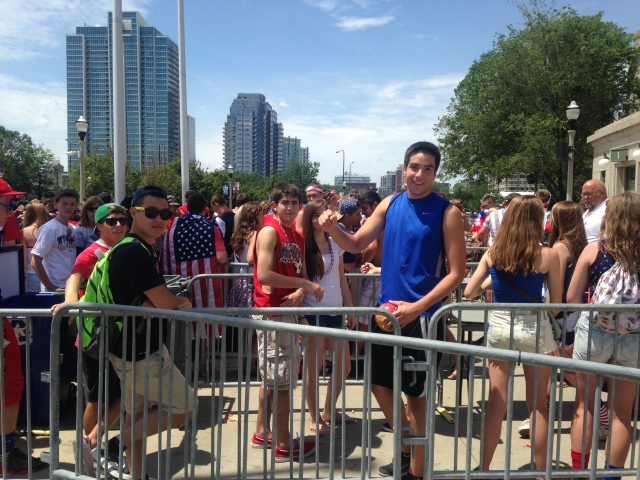 """Hundreds of U.S. soccer fans gathered outside Soldier Field hours before gates were even opened for the U.S.-Belgium watch party. The fans of the underdog U.S. sporadically broke into chants of """"I believe that we will win."""" (Aamer Madhani, USA TODAY Sports)"""